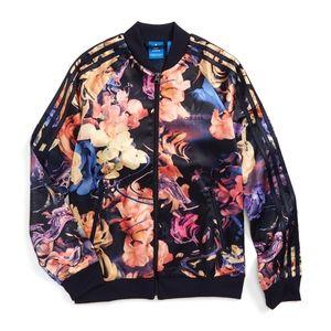 Adidas Rose Print Satin Superstar Track Jacket